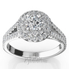 Two tier halo split shank diamond engagement ring