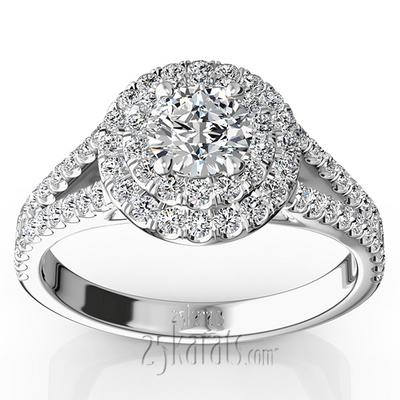 split shank scalloped micro pave set engagement ring 5 8