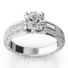 Engraved baguette diamond nostalgic engagement ring