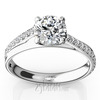 Micro pave set 4 prong diamond engagement ring