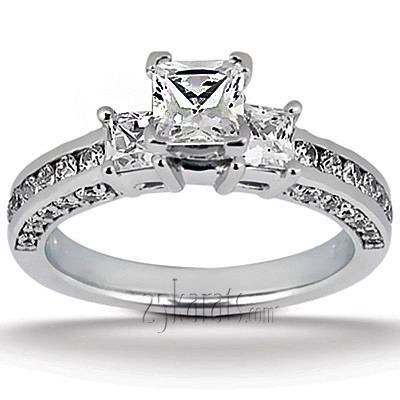 Princess and Round Diamond Combination Engagement Ring (1.06 ct.tw.)