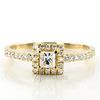 Halo style bead set emerald cut yellow