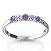 Amethyst and diamond wedding and anniversary ring