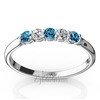 Blue topaz and diamond alternating wedding band for ladies
