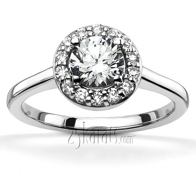 Halo Style Bead Set Diamond Engagement ring