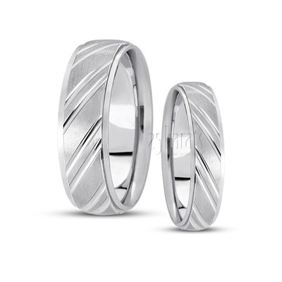 His and her basic carved diamond cut wedding ring