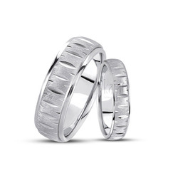 His and her diamond cut wedding band