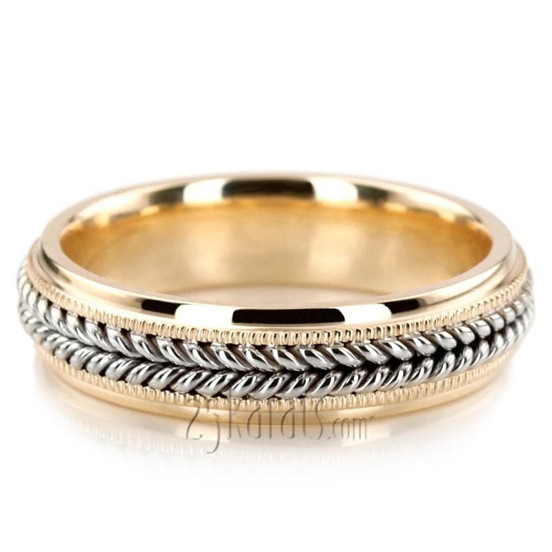 Double braided milgrain hand woven wedding ring hm035 for Woven wedding ring