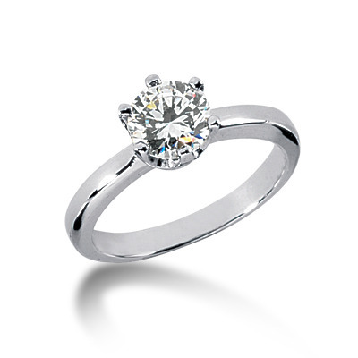 Round Cut U-Prong Set Diamond Engagement Ring