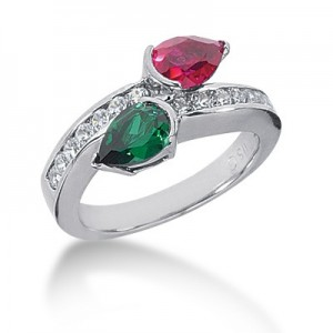 Emerald and Ruby Diamond Ring