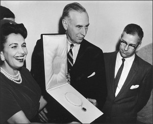 Photo from the formal presentation of the Hope Diamond to the Smithsonian on September 10th, 1958. From left to right Mrs. Harry Winston, wife of the donor; Leonard Carmichael, Secretary of the Smithsonian; Dr. George S. Switzer, Cura